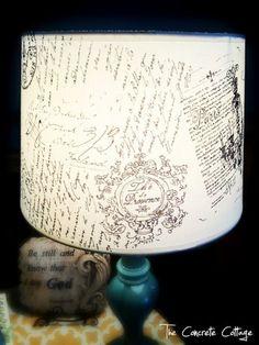 3. DIY french script lampshade