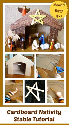 This is a lovely craft tutorial for a cardboard nativity stable adorned with a popsicle stick glitter star. Day 8 of 25 Hands-On Nativity Lessons for Kids - www.mamashappyhive.com
