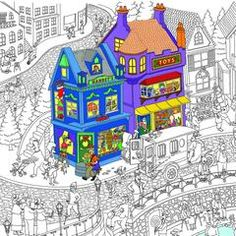 Keep the family busy! HUGE Merry Christmas Village Coloring Poster (60''x 36'') On sale now