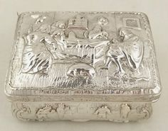 ANTIQUE DUTCH SILVER BOX WITH TAVERN AND VILLAGE SCENES 1890