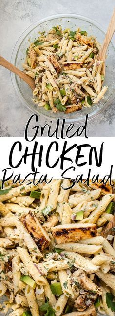 This healthy grilled chicken pasta salad is full of fresh summer flavors and smoky BBQ sauce! The creamy dressing is lightened up with Greek yogurt.