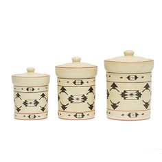 Infuse your kitchen counter, bath area, or bookshelf with a touch of tribal chic. The HiEnd Accents Artesia Canister - Set of 3 is just right. Ceramic Canister Set, Kitchen Canister Sets, Southwestern Decorating, Southwestern Style, Southwest Decor, Rustic Bedding, Ceramic Materials, Bedding Collections, Leather Tooling
