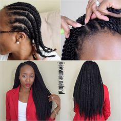 "Crochet Senegalese Twists 1. I braided my hair into 11 cornrows (I would recommend 8-10). I then tacked up the ends individually with needle and thread. 2. I installed 6 packs of @outre_hair X-Pressions Senegalese Twist 24"" In Large using the crochet method. 3. Done in 2hrs & 45 mins looking like I got my hair professionally twisted ! Yes! I am loving it. #protectivestyles #crochetbraids #Aseamaenatural #crochettwists Link to tutorial: https://youtu.be/dQ5gwT5K22s"