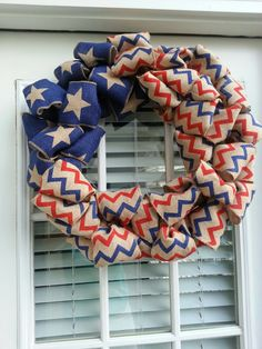 4th of July wreath made with burlap ribbon from Walmart...created by Patty Jayne's Designs.