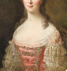 François-Hubert Drouais, Portrait de Femme (détail) 1771
