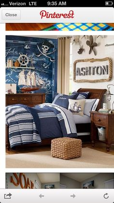 Looove the name above the bed!!!! <3 Pirate themed nursery for my future baby boy for sure! :D