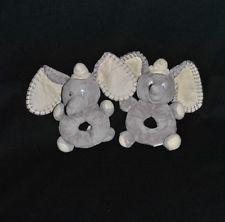 Lot 2 Doudou hochet Dumbo l'elephant DISNEY NICOTOY Gris TTBE