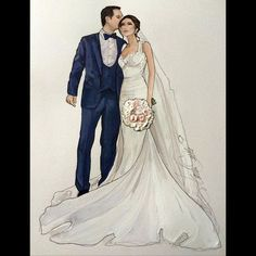 Stunning Couple - Samira and Nicolai- Wedding Drawing, Wedding Dress Sketches, Wedding Art, Wedding Gowns, Fashion Design Drawings, Fashion Sketches, Disney Princess Pictures, Wedding Illustration, Ladies Day