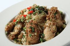 Sauteed Oysters and Pasta at Vincent's Italian Cuisine in Uptown NOLA.