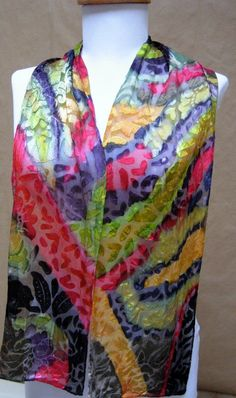 Handpainted devore Silk Scarf- embossed multicolor abstract Impressionist Handmade in the USA