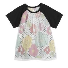 Eyelet T-shirt with Black Sleeves