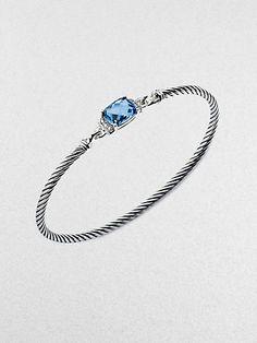 David Yurman - Blue Topaz, Diamond and Sterling Silver Bracelet