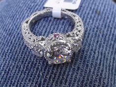 Gorgeous J. Francis Ruby and Swarovski Zirconia Sterling Silver Ring. Sz 6 #JFrancis #SolitairewithAccents