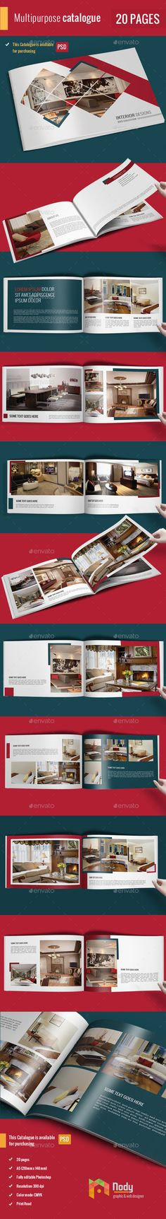 Simple Catalog / Portfolio / Brochure - Catalogs Brochures Professional Catalogue/Brochure The file include 20 pages including cover pages A5 (210mm x 148 mm) Fully editable Photoshop Resolution: 300 dpi Color mode: CMYK Print Ready