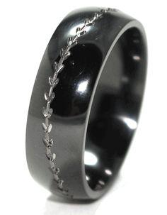 Baseball Wedding Band Black Unique Rings Titanium