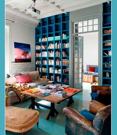 Blue Bookcase Wall!