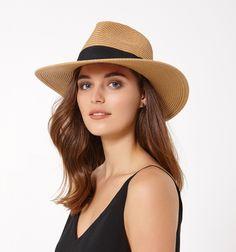 7b597e64097 Talia Fedora Straw Hat Tan Black - Womens Fashion