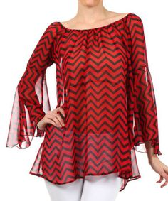 Look what I found on #zulily! J-MODE Red & Black Bell-Sleeve Top by J-MODE #zulilyfinds