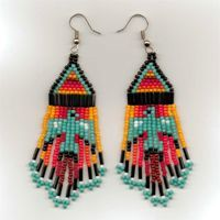 Beaded medallion patterns | Thunderbird Seed Bead Earrings in Traditional Colors