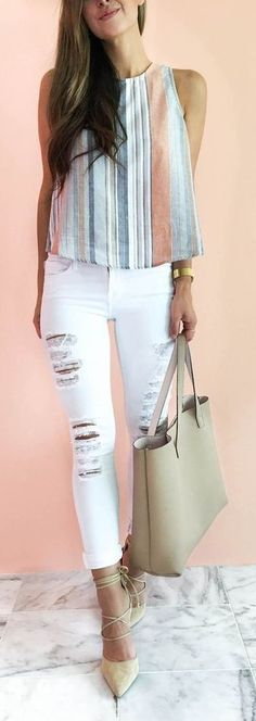 #spring #fashion #outfitideas | Striped Tank + Ripped Denim | The Darling Detail Source