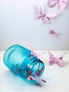 Mariposas 3d de papel pintado a mano degradado en negro y plata met lico da vida a tu casa a - Papel pintado a mano ...