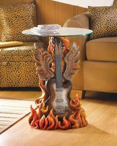... home decor  Rock N Roll Guitar Table Glass Console Sofa Home Decor