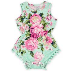 Show your little princess off in this super cute mint, pink and aqua floral pom pom romper. Pom pom rompers are a must have! Made of super soft stretch material for a comfy fit. Perfect for her first