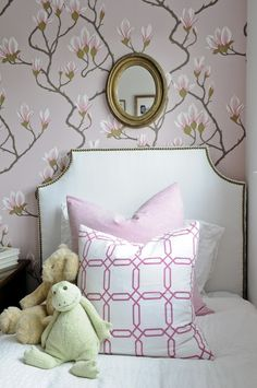 feminine and sweet girls room | brunschwig & fils wallpaper (I think).