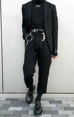Men Streetwear - Men Streetwear outfits - Men Streetwear urbanwear - Men Streetwear summer - Men Streetwear winter - Men Streetwear c… Edgy Outfits, Mode Outfits, Grunge Outfits, Fashion Outfits, Black Outfits, Fashion Mode, Korean Fashion, Mens Fashion, Mens Grunge Fashion