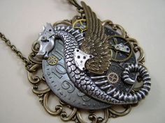 Steam Punk Sci Fi Winged Dragon/Sea Horse by TheSteamPunkCatSlave