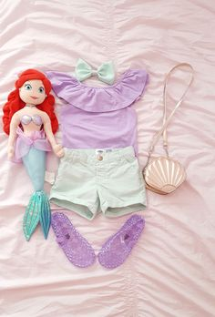 Ariel Inspired Look, Disney OOTD, Disney Inspired Look, Little Fashionista Disney Outfit Ideas Disney Outfits Girls, Disney Bound Outfits Casual, Disney Dress Up, Disney Baby Clothes, Disneyland Outfits, Toddler Outfits, Kids Outfits, Baby Outfits, Princess Inspired Outfits