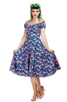 Dolores Flamingo Flock Doll Dress Collectif Mainline Clothes Dresses @ Collectif and Vintage Style Clothing and Rockabilly Collection Vintage Style Outfits, Vintage Fashion, Dress Outfits, Fashion Dresses, Bad Gal, 1940s Dresses, Summer Beauty, Gypsy Style, Dress Codes