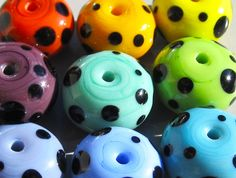 Spotty SpacersHandmade Lampwork Beads by beadygirlbeads on Etsy, $60.00