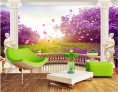 32.68$  Watch here  - Custom photo 3d wall murals wallpaper Backyard cherry blossom decor painting picture wallpapers for walls 3 d living room