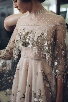 Boldly Boho: Embroidered Wedding dresses with Colourful Florals - Wedding Dress Outfits Dress, Dress Up, Dress Lace, Bridal Outfits, Boho Dress, Long Sheer Dress, Tulle Dress, Pink Dress, Look Fashion