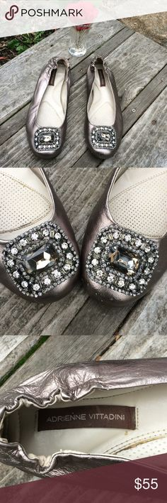 🌺 Adrienne Vittadini - GORGEOUS Blingy Flats; 8.5 Absolutely STUNNING Blingy Flats by Adrienne Vittadini! These shoes will make you feel like Cinderella minus the heel! In a beautiful Silver/Gray Color. Misses Size 8.5. Fine leather Upper. Signature Adrienne Vittadini markings on the sole. Well-loved, but with many miles left to go. Once on, they look brand new!  Thank you for shopping here. Bundle additional items from my closet to save 💰. I 💖my Posher Pals & Ship Fast for You! Debbie…