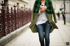 structured but open honeycomb knit with tissue tee underneath. contrast with army green coat + plaid.