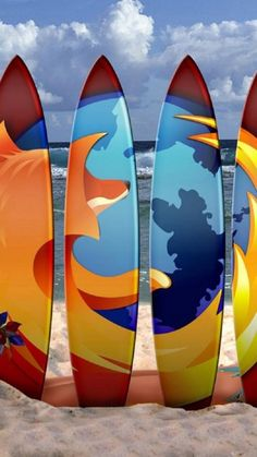 Firefox Surf Boards Beach Android Wallpaper