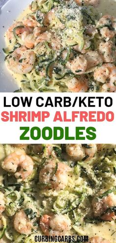 Creamy keto shrimp alfredo sauce made with zucchini noodles, spinach, and Parmesan cheese. The best alfredo zoodles recipe that is low carb and delicious! alfredo sauce with spinach Keto Shrimp Alfredo Zucchini Noodles Keto Shrimp Recipes, Zucchini Noodle Recipes, Zoodle Recipes, Zucchini Pasta, Low Carb Dinner Recipes, Lunch Recipes, Healthy Recipes, Shrimp With Zucchini Noodles, Veggie Pasta
