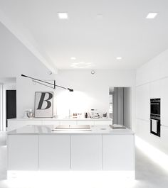White kitchen / mustaovi