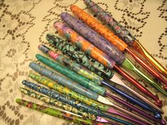 """Would I maybe not lose these? """"A complete set of hand made polymer clay crochet hooks.. $29.00, via Etsy"""" (suziesclaycreations http://www.etsy.com/listing/117892832/a-complete-set-of-hand-made-polymer-clay?ref=sr_gallery_12_search_query=crochet+hook_view_type=gallery_ship_to=US_search_type=supplies#)."""