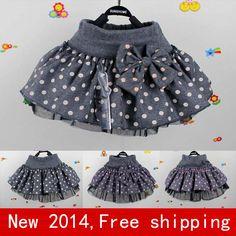 New 2014  baby tutu skirt Girl dot woolen  skirt girls skirts cake  causal cotton dance skirt for girl  2T~6 Free shipping DA021-in Skirts f...
