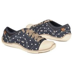 "Women's Dr. Scholl's Jamie Navy Dots - my new favorite ""slip-on"" tennies!  The laces are for looks only."