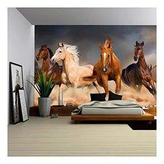 art wallpaper Horse Herd Run in Desert Sand Storm Against Dramatic Sky - Removable Wall Mural Horse Mural, Horse Wall Art, Painted Horses, Horse Wallpaper, Wall Art Wallpaper, Removable Wall Murals, Wall Stickers Murals, Canvas Home, Canvas Wall Art