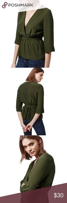 Topshop Olive Ballet Wrap Top Beautiful color and fit, very well made top! So sad to give this up but I would have been better off with a Size 4. Purchased brand new on Posh. Worn once!  • Size 2 • Olive Green  • 100% Viscose • Like New! Topshop Tops Blouses