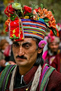 India,  Portrait of a man attending the festivities at Ladakh, Leh, Northern India