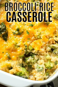 rice recipes Broccoli cheese and rice casserole is a Southern recipe that is full of cheesy goodness! Broccoli and rice are combined with a cream cheese and cheddar sauce for an easy and delicious casserole! Rice Dishes, Vegetable Dishes, Casserole Dishes, Food Dishes, Brocoli Casserole Recipes, Chicken Broccoli Rice Casserole, Cheesy Rice Casserole, Veggie Casserole, Vegetable Recipes