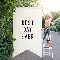 Our large over-sized Best Day Ever banner makes a statement at any event diy event Trendy Wedding, Diy Wedding, Dream Wedding, Wedding Day, Party Wedding, Wedding Things, Elegant Wedding, Wedding Flags, Wedding Signage