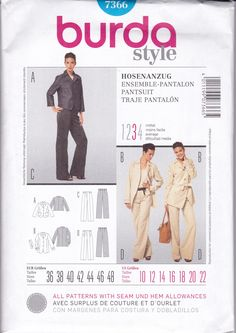 Free Us Ship Burda 7366 Sewing Pattern Pantsuit Wide Leg High Waist Pants  Size 10/22 New Bust 32 34 36 38 40 42 44 plus New Unused by LanetzLiving on Etsy