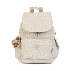 Kipling Ravier Printed Backpack (264.615 COP) ❤ liked on Polyvore featuring bags, backpacks, monkey mania beige, strap backpack, kipling backpack, pink bag, knapsack bag and kipling bags